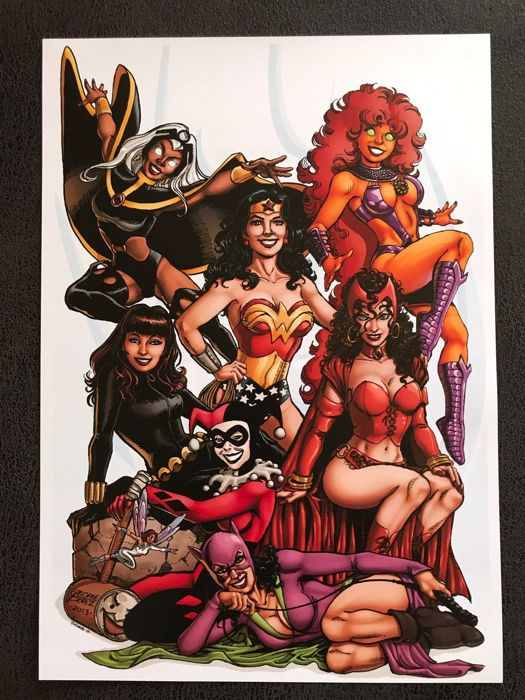The Women Of Marvel & DC   Lithograph By George Perez - Exclusive Print - (2013)