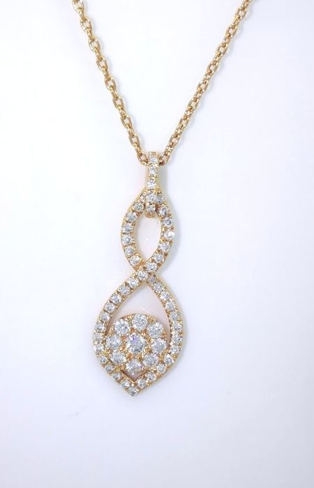 Rose gold pendant, 14 kt gold, set with 56 cut diamonds, 0.50 ct in total - 42 cm