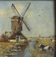 Unknown - Molen in Hollandse polder