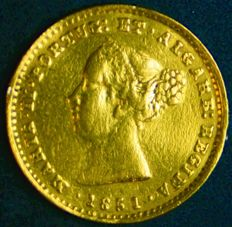 Portugal – 1.000 Reis in GOLD – D. Maria II – 1851 – Lisbon – Extremely Rare and UNC – Only 12.099 Copies Minted – AG: 41.01