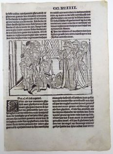 Master of Delft - Incunabula woodcut leaf from Vitae Christie with woodcut and 2 woodcut initials - Hoe die ridders ende wachters des heylighen graefs den ioden boetscaepten dat ihesus verresen - The Three Mary's and Knights at the Tomb of Christ - 1488