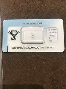 Brilliant cut diamond – 0.22 ct – Colour: D – Clarity: VS2