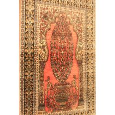 Magnificent hand-knotted silk carpet, cashmere silk carpet, Qom, natural silk, 80 x 130 cm, made in Kashmir
