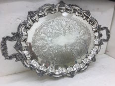 Engraved silver plated tray, W&SB, USA, ca. 1920