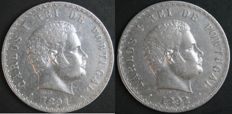 Portugal -- 2 × 500 Reis coins in SILVER -- D. Carlos I -- 1891 and 1892 -- UNC -- Lisbon -- AG: 11.01 and 11.03