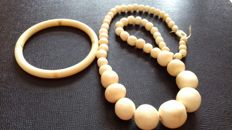 Antique ivory necklace and bracelet