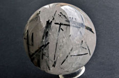 High quality Quartz sphere with black Tourmaline crystals included - 8.4 cm - 834 gm