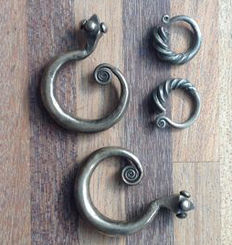 Two pair of antique / vintage silver Chinese earrings