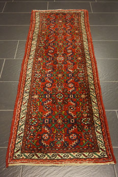 Old Persian carpet, Malayer Hamadan, 320 × 80 cm, natural dyes, made in Iran