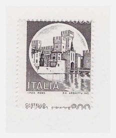 Republic of Italy - 1980, 600 Lire, 'Castelli d'Italia' series with only the black print and shifted perforations - Sassone Specialised catalogue No. 1141 Ah