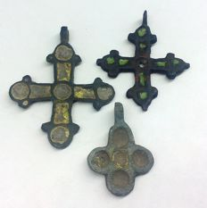 Three medieval bronze cross with enamels of the Viking period 41x32 mm 35x30 mm 27x18 mm
