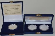 "Italy – 5 and 10 Euro 2003 ""European People"" and 10 Euro ""Presidency of the European Union"" (3 coins in total) – silver"