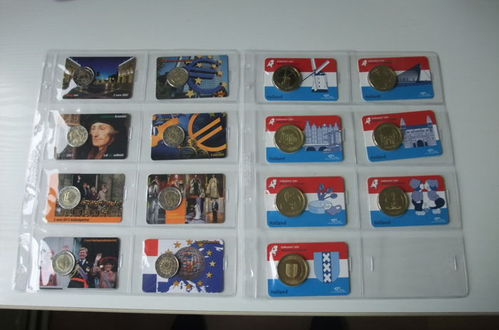 Netherlands – 2 Euro coin cards 8 pieces 2007/ 2015 'complete series'  and medals in coin card 'Holland' complete series of 7