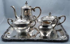 4-piece heavy silver plated coffee and tea set on tray