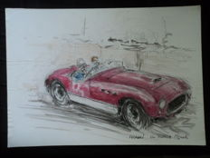1 original watercolour - drawing 'Ferrari 340 America Vignale' - Francois Chevalier - 30 x 21 cm