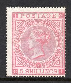 Great Britain, Queen Victoria - 5 Shillings Pale Rose Plates 2 - Stanley Gibbons 127