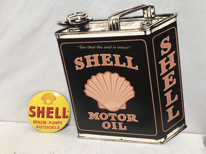 Metal Shell Motor Oil advertising sign end 20th/early 21st century - Die-Cut plus Enamel Logo sign