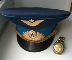 Ceremonial headdress and wrist watch of the Soviet pilot 80s years . the USSR/СССР .