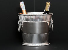 Champagne / Wine Cooler for 2 bottles with lion head handles. Italy, mid. 20th century
