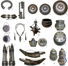 Decorative display items in Indian silver.