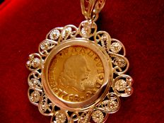 Spain - Ferdinand VI (1746 -1759) - Gold 1/2 escudo coin - 1758 - Seville 18 kt gold pendant - Total weight: 5.5 g