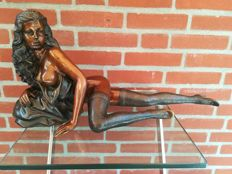 Decorative; Sculpture of Woman in kinky outfit - 1980s