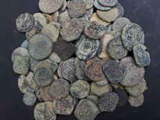 Spanish medieval collection 110 bronze coins - 481g
