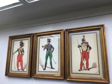 3 original signed watercolours - Napoleonic Garde Imperiale: Grenadiers / Chasseur / Voltigeur by illustrator Bitry-Boely - in  gilded wooden frame behind glass