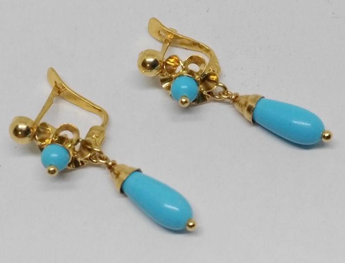 18 kt yellow gold earrings - turquoise coloured stones