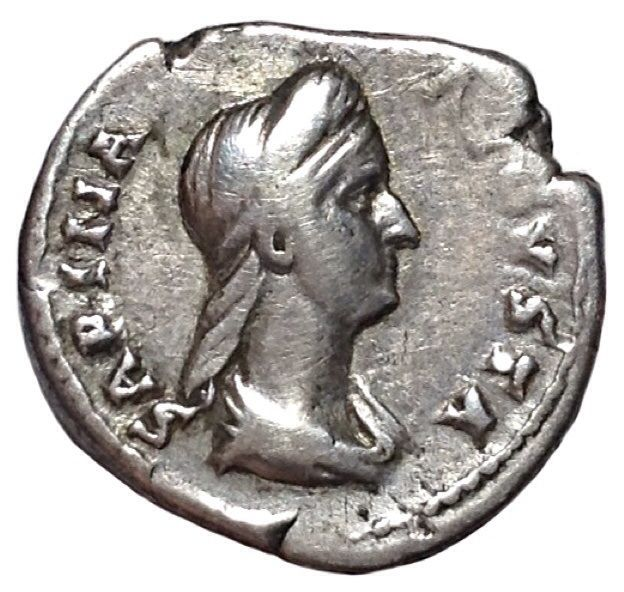 The Roman Empire - Sabina (wife of Hadrian, 128-136 AD) - AR Denarius (Silver., 17,5mm; 3,43g) - Rome mint, struck c. 75 AD - Head / Veneri Genetrix - RIC 396; Cohen 73