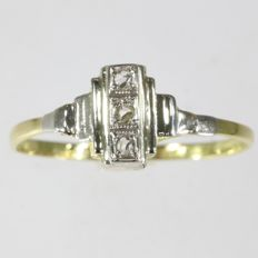 Art Deco bicolour gold rose cut diamond ring, without reserve price