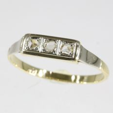Art Deco diamond bicolour gold ring - **No reserve price**