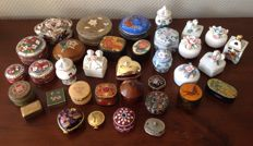 Lot of 35 beautiful pill boxes of various materials