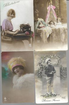 Netherlands/Belgium, 280 x congratulatory cards, children's cards nostalgic cards, happy new year and Christmas cards and Easter cards