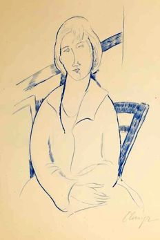 "Elmyr de Hory - ""Portrait en Bleu"" in the Style of Modigliani"