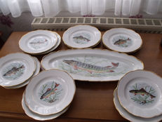 Fish service in porcelain - 13 pieces