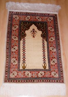 Original hand-knotted Turkish silk Hereke carpet in new condition