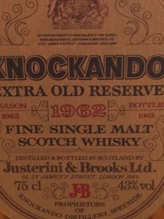 Knockando 1962  Extra Old Reserve in a Square Decanter
