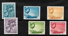 Seychelles 1938 - Stanley Gibbons 138a, 140, 144, 146, and 149, Plus 140aba, with Hankerchief Flaw