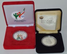 "Ireland - 10 Euro 2003 ""Special Olympics World Summer Games"" & 2004 ""10 new countries to the EU"" - silver and coloured"