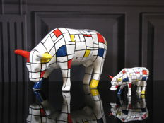 CowParade - 2 Mondriaan Cows Medium & Small - Jon Eastman