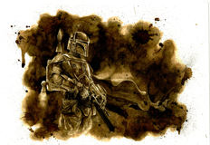 Original Coffee Drawing By Juapi - Star Wars - Boba Fett