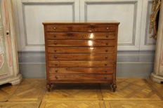Rare walnut goldsmiths cabinet with 8 drawers - France, 19th century