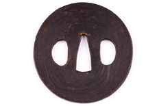 Iron Mokume Tsuba - With Hada - Japan - 18th/19th century