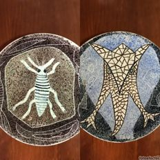 Salvador Sanz Faus - 2 ceramic plates - Untitled - Handmade ceramics - Signed