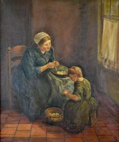 Walto. (20th century) A mother and child peeling vegetables.