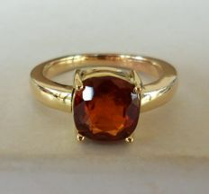 2.98 ct IGI Certified Natural Brownish Orange HESSONITE in New Ring of 14K Solid Yellow Gold  -  Ring Weight 5,50 Gram  -  Ring Size: 17.5/55/7.5  -  * NO RESERVE PRICE *