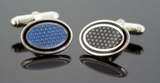 Vintage Sterling Silver Mens Cufflinks With Enamel