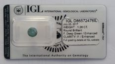 1.28ct  ROUND BRILLIANT   IGL    FANCY DEEP GREEN  DIAMOND-NO RESERVE