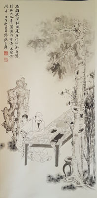 A  Hand-painted scroll painting《张大千-白描人物》 - China - late 20th century